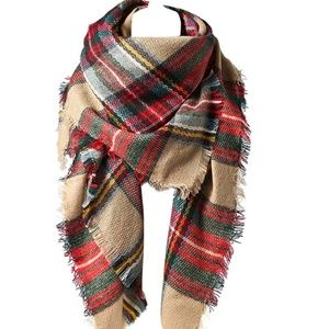 Accessories - Trendy Chunky Plaid Blanket Scarf, Very Soft